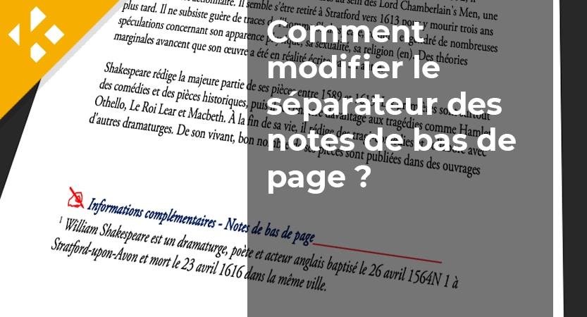 Modifier la ligne au dessus des notes de bas de page dans word